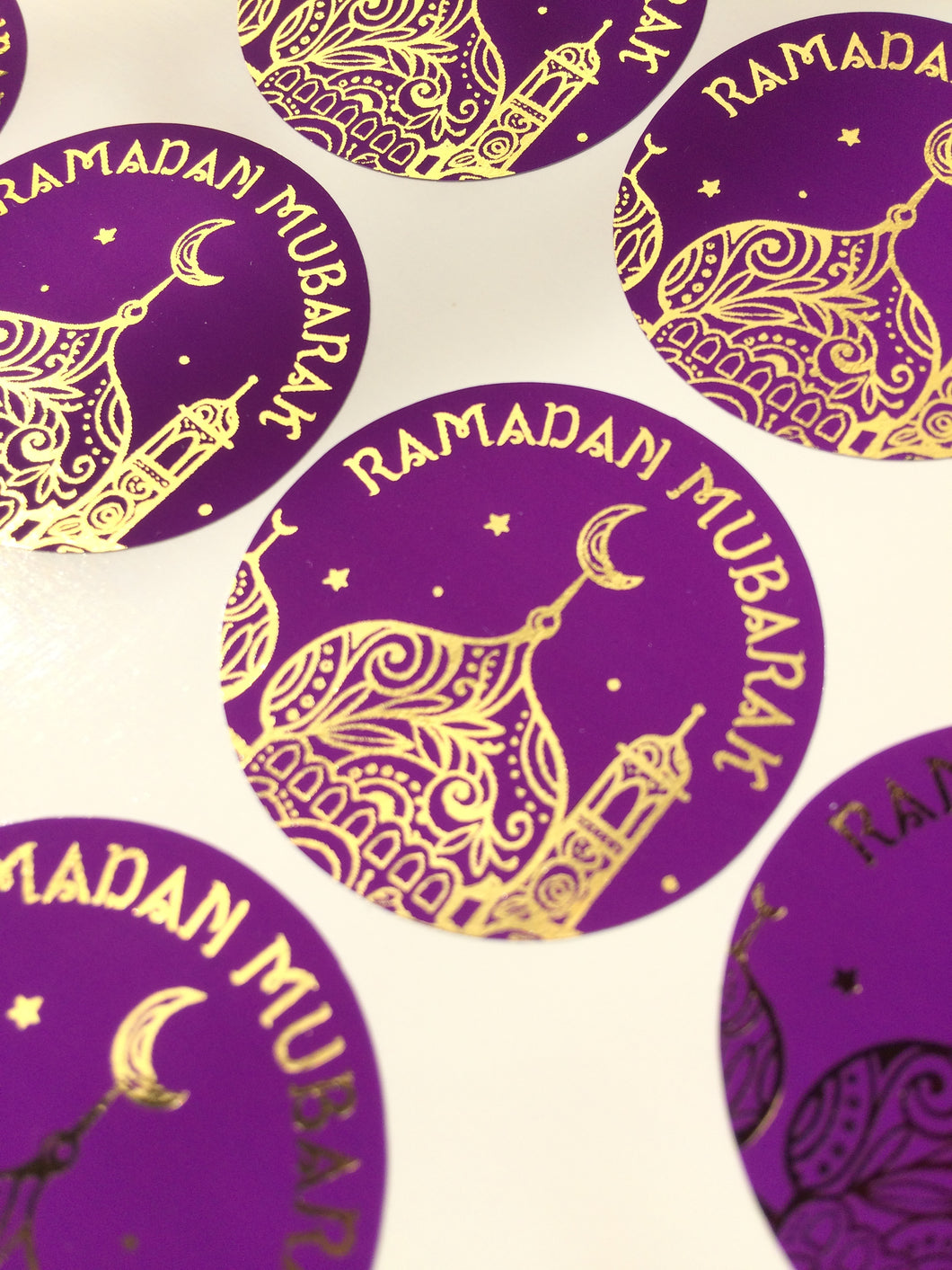 55  or 70 Stickers | 34mm | Vinyl: Purple & Gold Foil Ramadan Mubarak Stickers