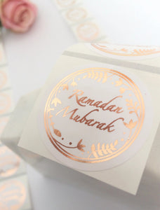 70 Stickers | 38mm | Clear Ramadan Mubarak Gold | Rose Gold | Silver Wreath Stickers