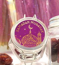 Load image into Gallery viewer, 55  or 70 Stickers | 34mm | Vinyl: Purple & Gold Foil Ramadan Mubarak Stickers