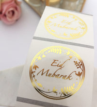 Load image into Gallery viewer, 35 Stickers | 38mm | Clear Eid Mubarak Silver | Rose Gold Wreath Stickers
