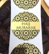 Load image into Gallery viewer, 35 Stickers | 38mm | Black & Gold Foil Geometric Hajj Mubarak Stickers