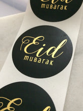 Load image into Gallery viewer, Black Eid Mubarak Foil Stickers (Gold | Rose Gold | Silver)