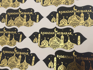 Vinyl:  Black & Gold Foil Ramadan Mubarak Stickers