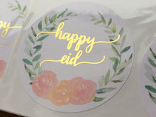 Load image into Gallery viewer, 24 Stickers | 50mm | Vinyl: Gold Foil Happy Eid Wreath Stickers