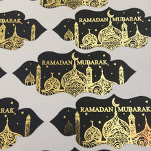 Load image into Gallery viewer, Vinyl:  Black & Gold Foil Ramadan Mubarak Stickers