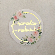 Load image into Gallery viewer, Ramadan Floral Hoop Gold Foil Stickers