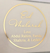 Load image into Gallery viewer, Personalised Clear or White Gold Foil Eid Mubarak Stickers