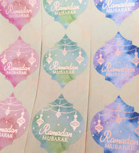 Load image into Gallery viewer, Rose Gold Foil Ramadan Mubarak Moroccan Quatrefoil Stickers