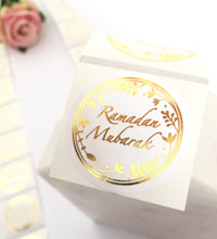 Load image into Gallery viewer, 70 Stickers | 38mm | Clear Ramadan Mubarak Gold | Rose Gold | Silver Wreath Stickers