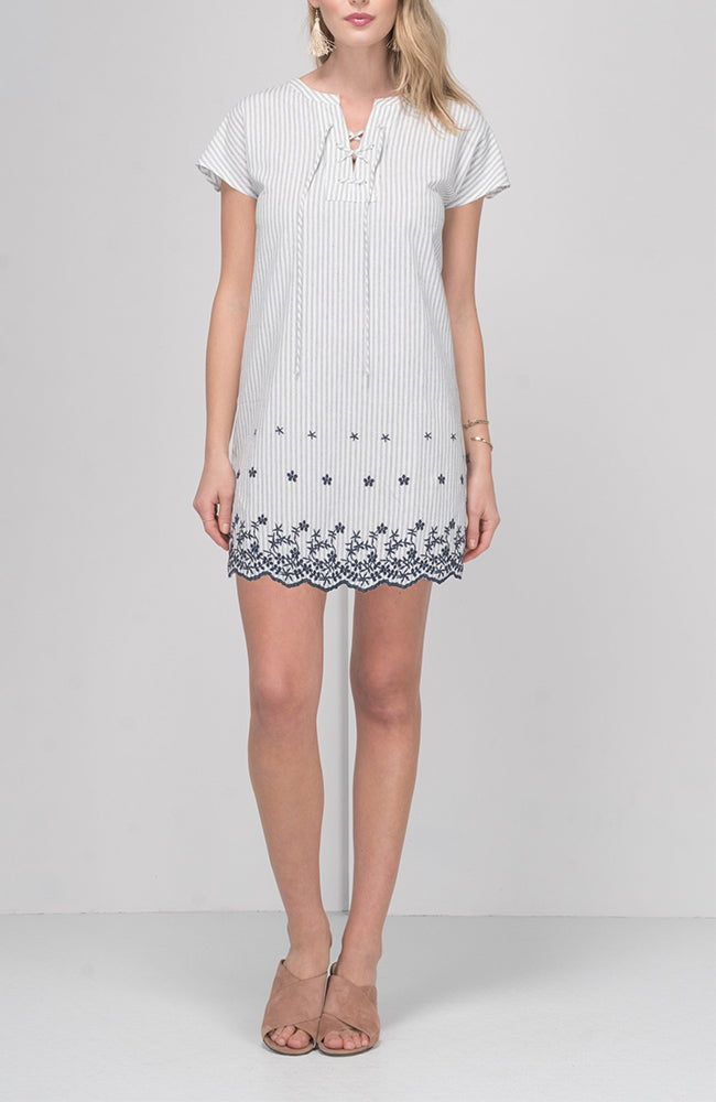 Greylin | Iris Emb Stripe Lace-Up Dress