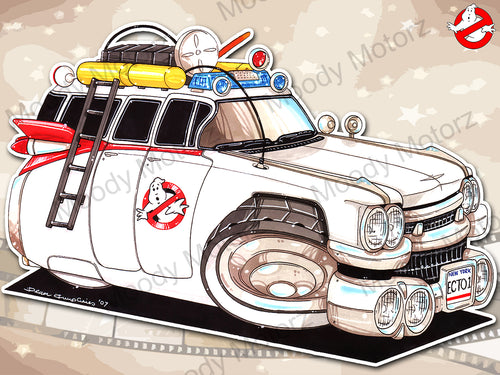 GHOSTBUSTERS ECTO1 Movie Car Koolart Leather and Chrome Keyring