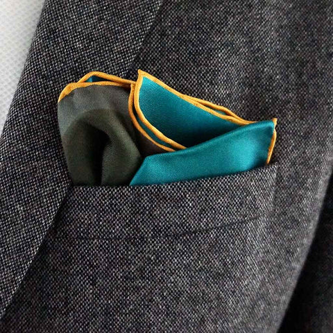 Yellow and green pocket square