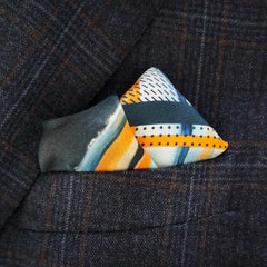 Designer orange and blue pocket square