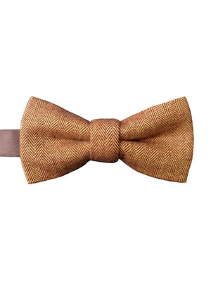 Herringbone brown bow tie