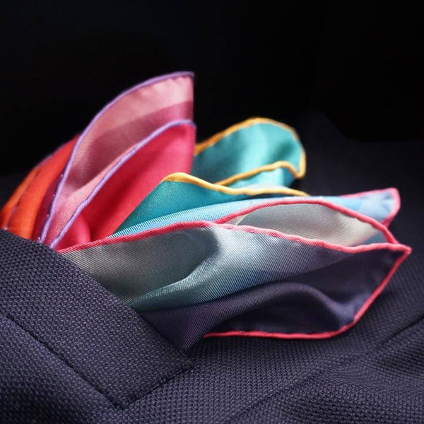 Silk pocket squares made in England