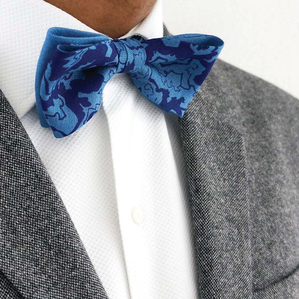 Screenprinted blue linen bow tie