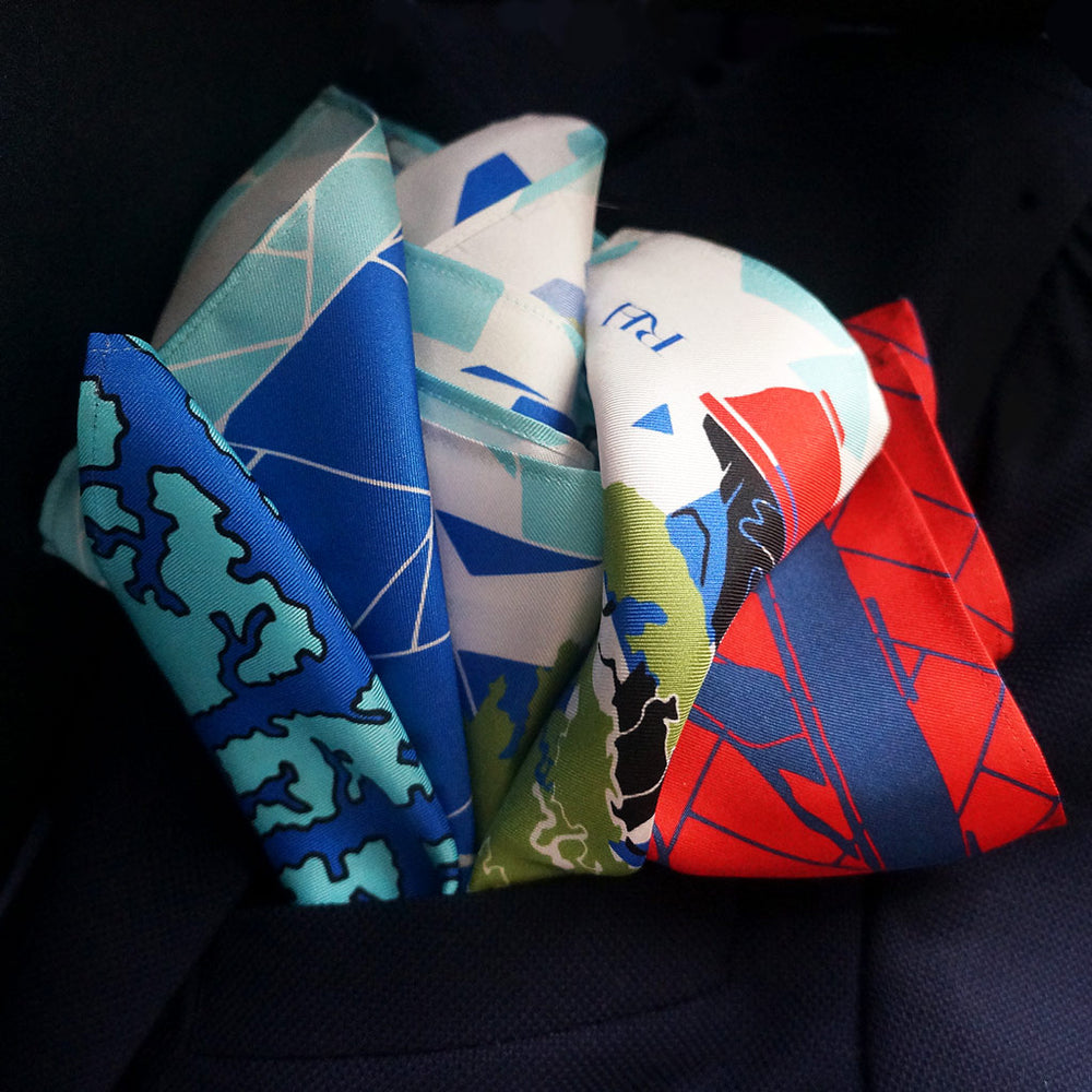 Silk pocket squares made in the UK