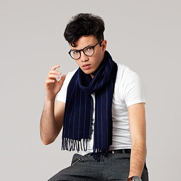 Navy pinstripe scarf for men Weaver & Wilde