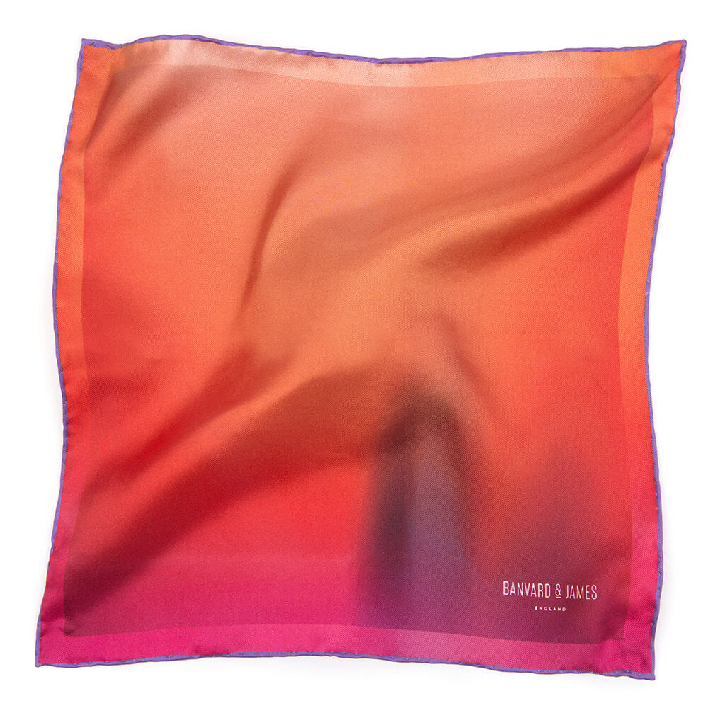 100% silk pocket square - orange and purple