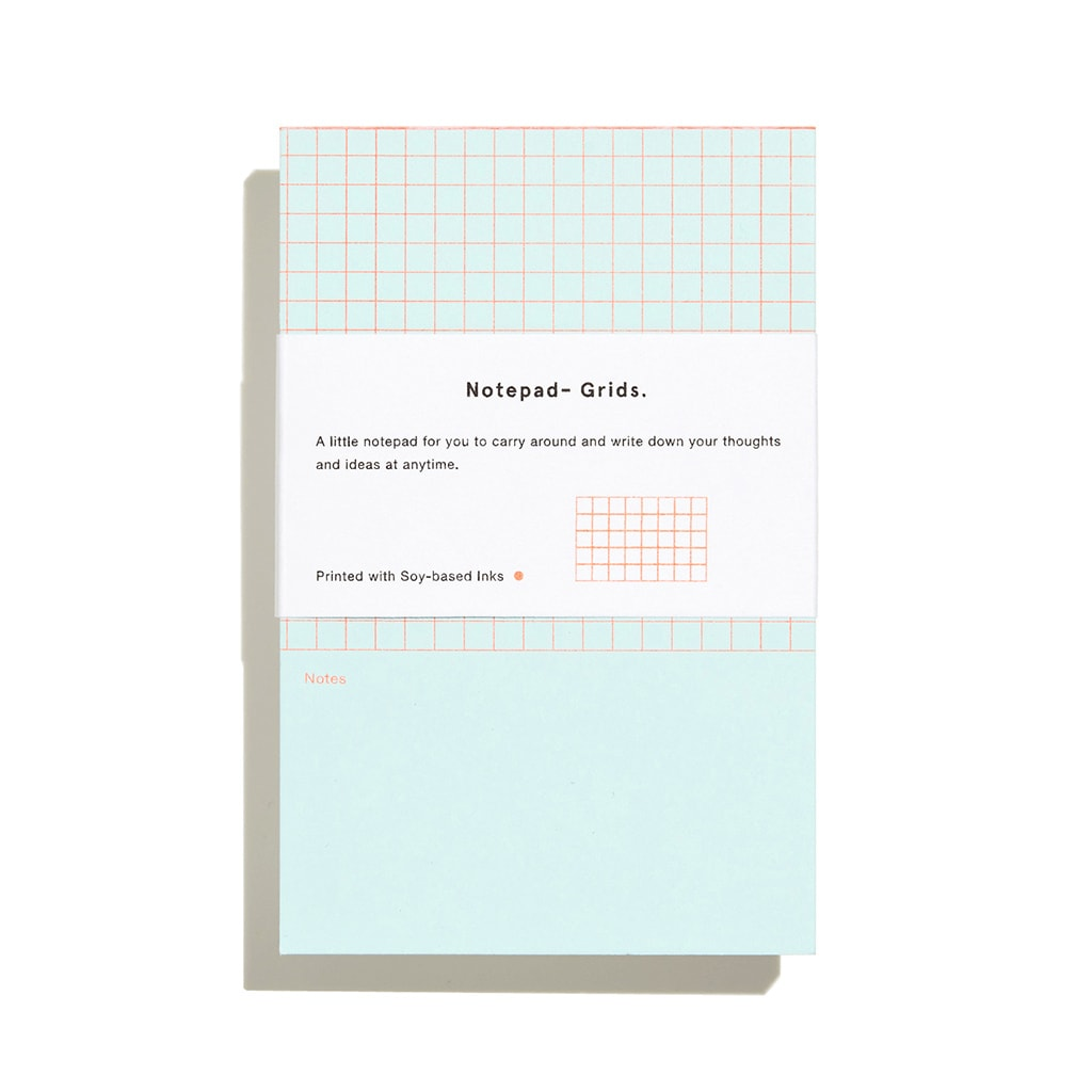 Before Breakfast Riso blue grids notepad | Printed in the UK