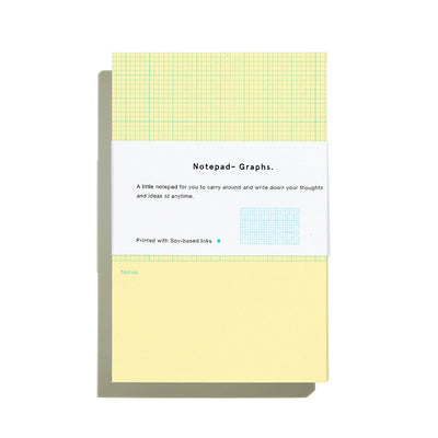 Before Breakfast Riso yellow graphs notepad | Printed in the UK