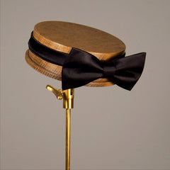 Pre-tied silk black bow tie made in England