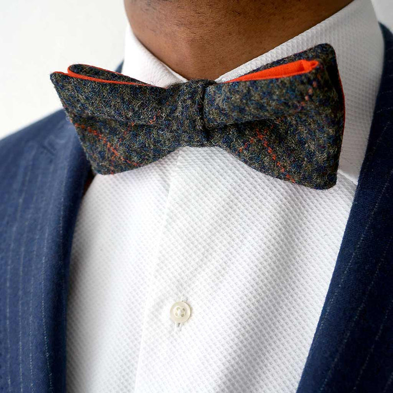 Grouse orange pre-tied bow tie | Made in the UK