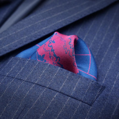Rory Hutton Navy and burgundy bonsai designer pocket square