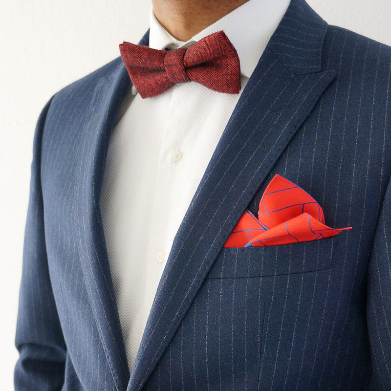 Pre-tied red herringbone bow tie | Made in the UK