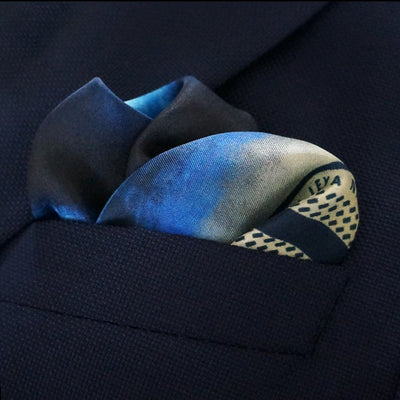 Blue and yellow designer pocket square