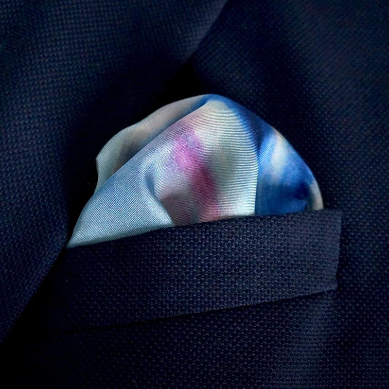 Designer purple and blue exclusive pocket square | Eleonora de Rossi