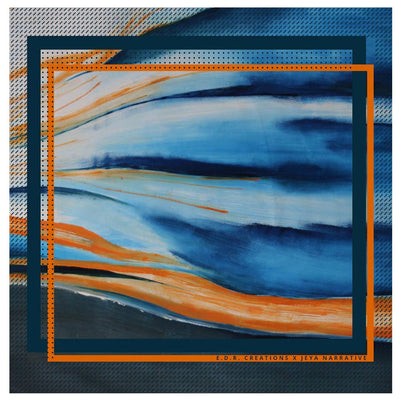 Orange and blue designer pocket square - Eleonora de Rossi