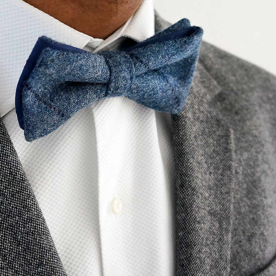 Flinstone blue tweed bow tie