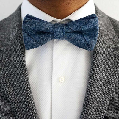Blue tweed pre-tied bow tie | Made in the UK
