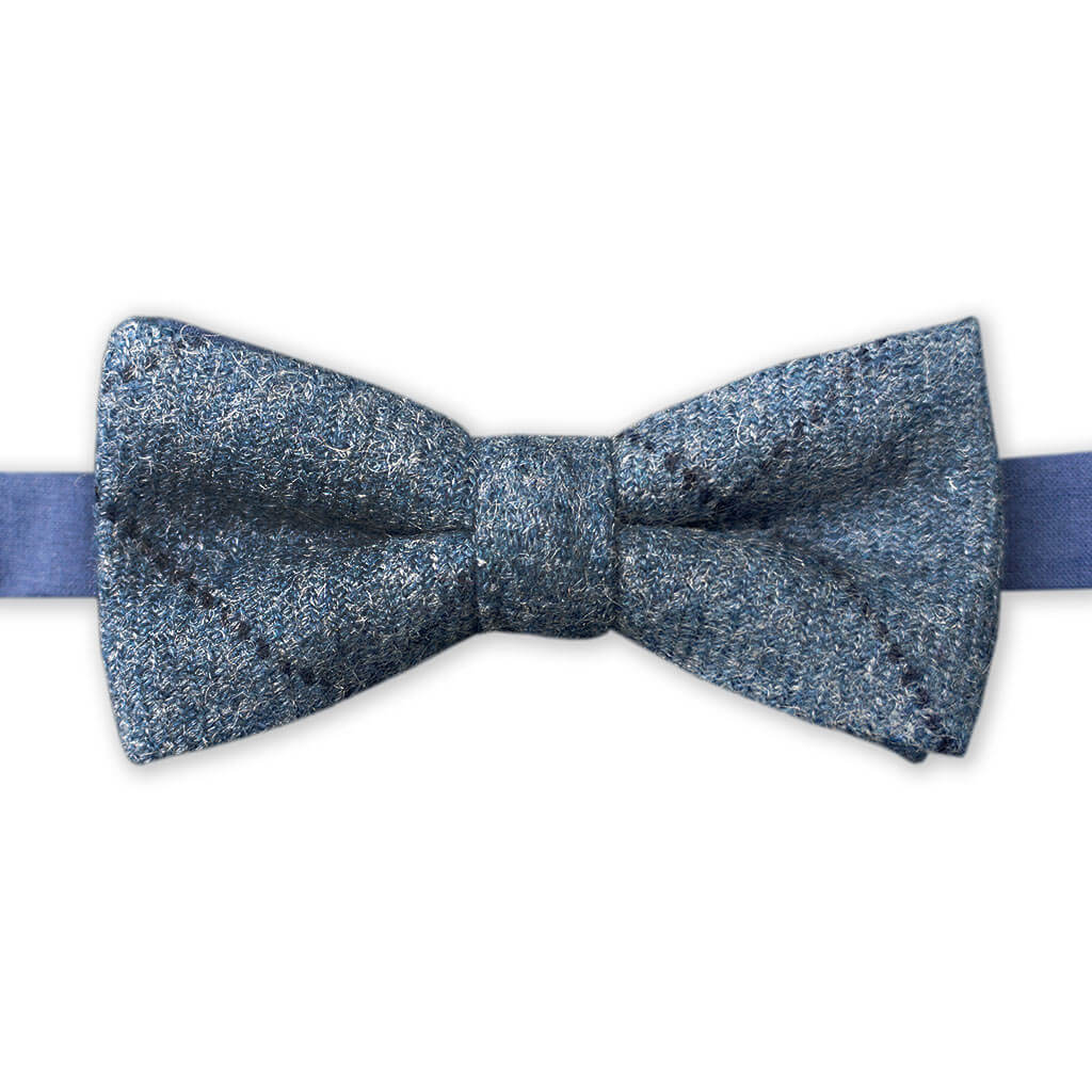 Edinburgh Bow Tie Co | Blue tweed pre-tied bow tie made in the UK