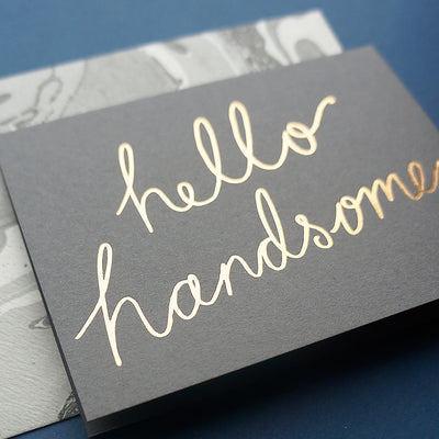 Luxury hello handsome greetings card | Katie Leamon