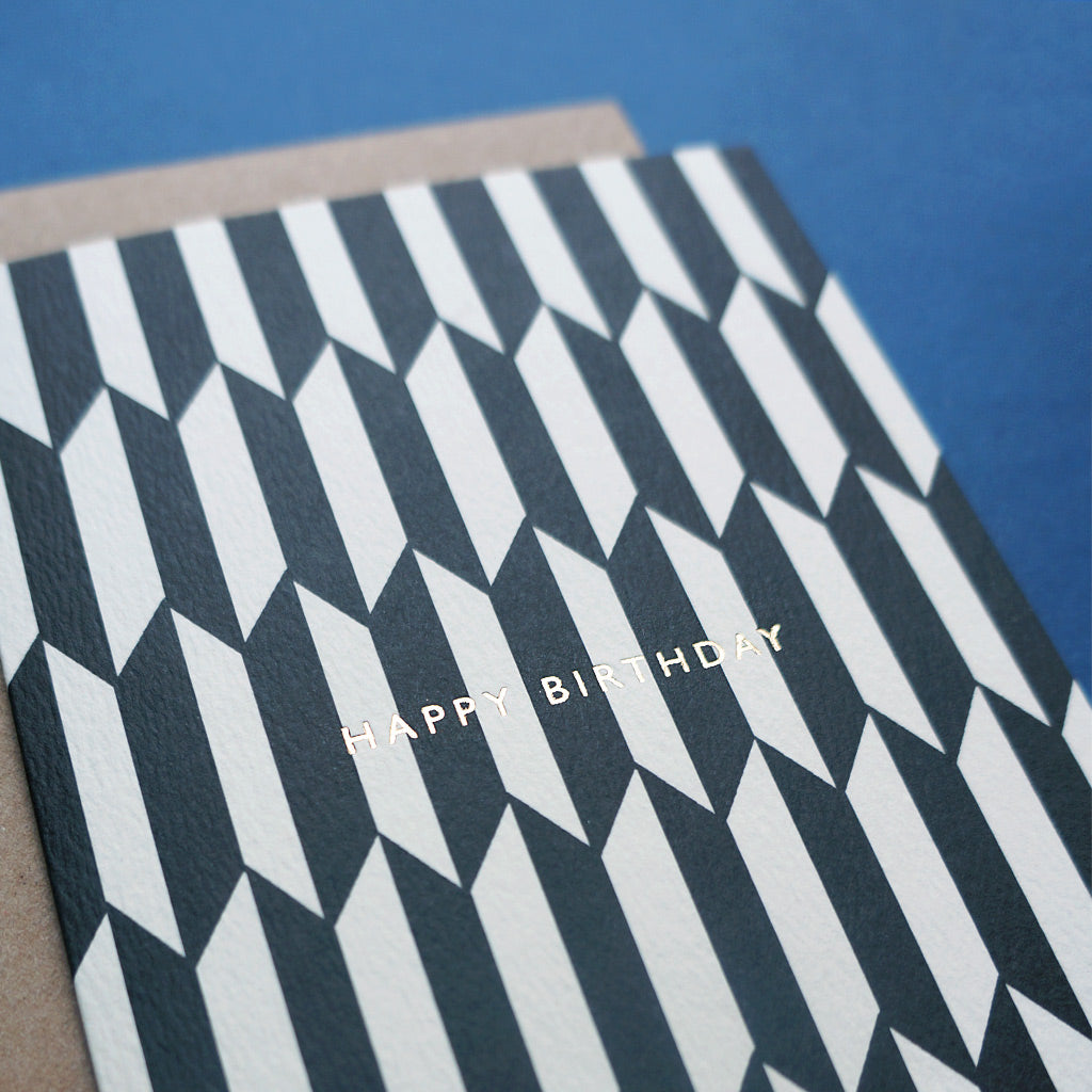 Luxury chevron birthday card for him