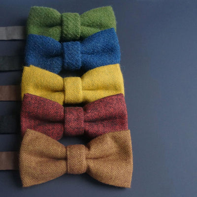 Pre-tied Harris Tweed blue bow tie | Made in the UK