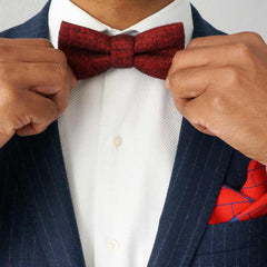 Red herringbone bow tie