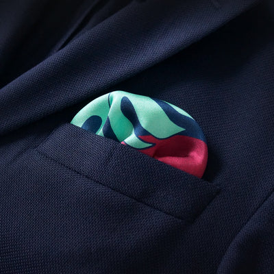 Rory Hutton burgundy and mint exclusive pocket square