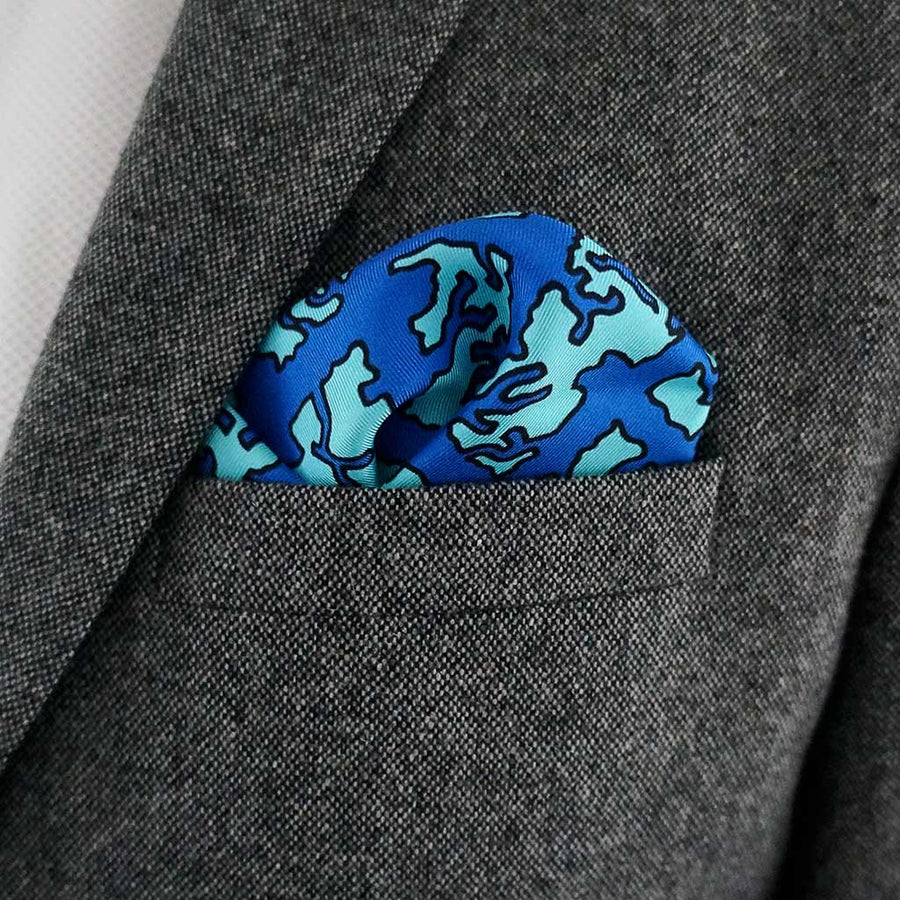 Bei Ping blue silk pocket square