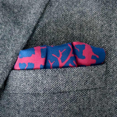 Rory Hutton burgundy navy pocket square