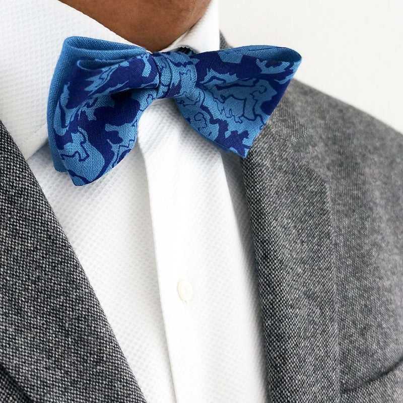 Rory Hutton Blue linen bow tie | Made in the UK