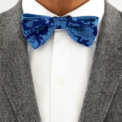 Blue linen bow tie | Made in the UK