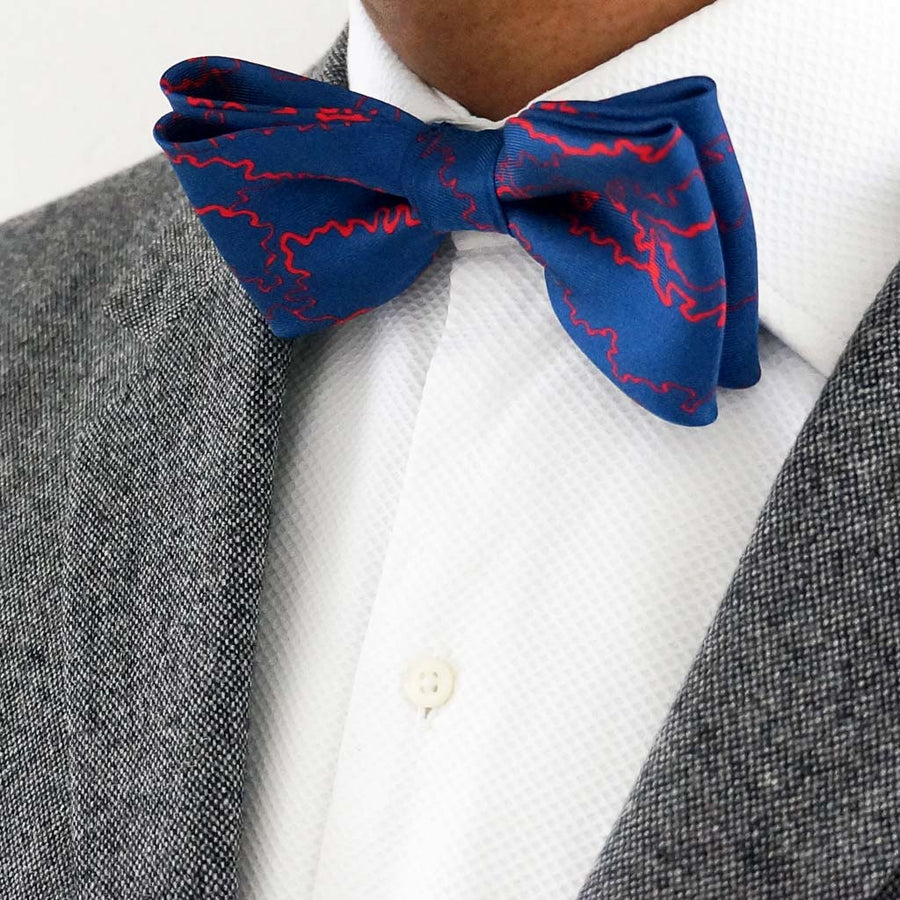 Manchuria navy and red silk bow tie