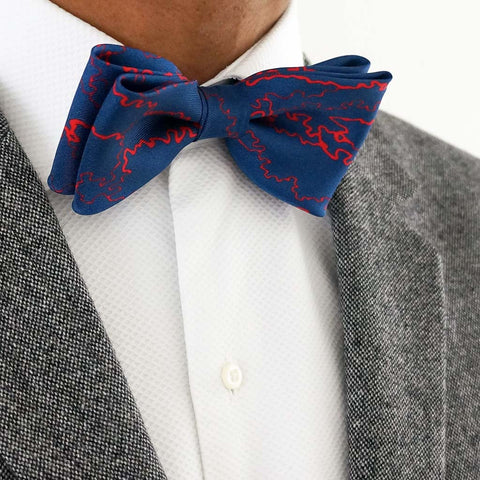 Rory Hutton designer blue silk bow tie