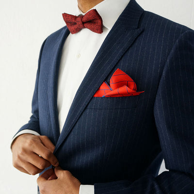 100% silk red and blue pocket square | Rory Hutton