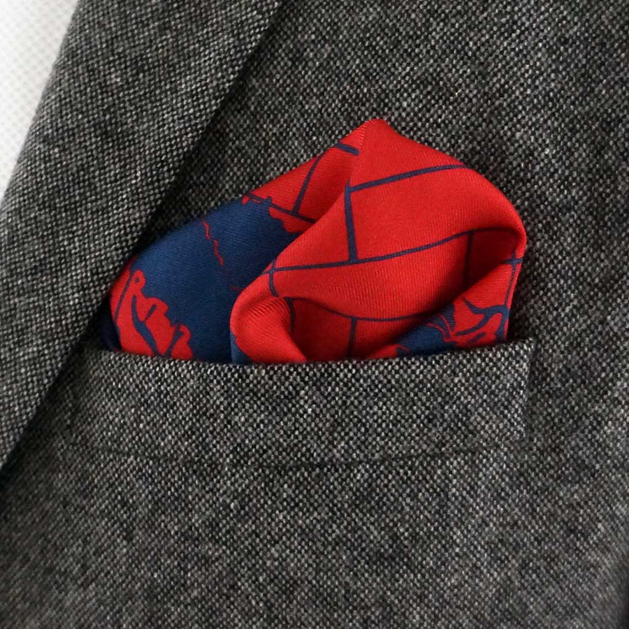 Manchuria red silk pocket square