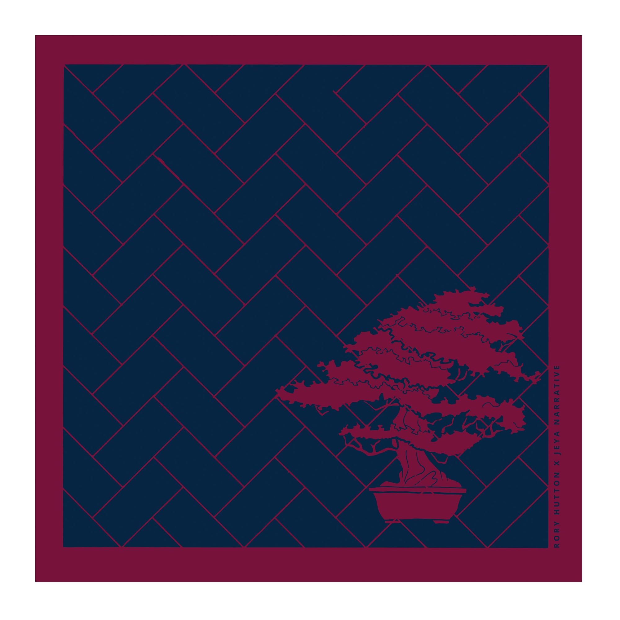 Rory Hutton | Navy and burgundy bonsai designer pocket square