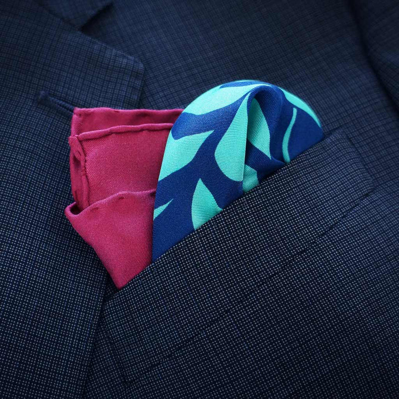 Rory Hutton | Simla burgundy and mint pocket square